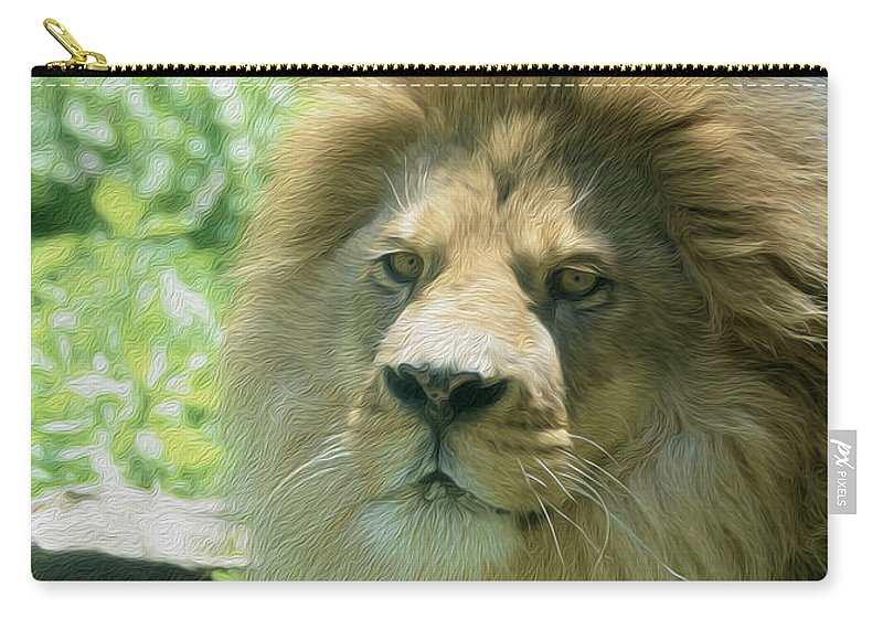 Male Lion Carry-all Pouch featuring the photograph Male Lion Up Close by Tracy Winter