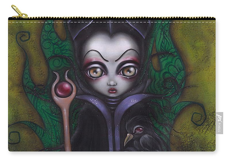 Villains Carry-all Pouch featuring the painting Maleficent by Abril Andrade Griffith