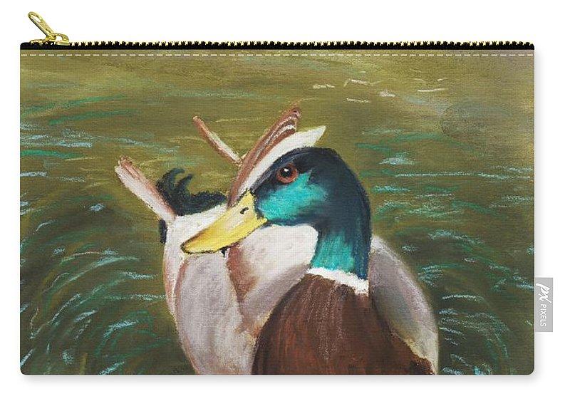 Malakhova Carry-all Pouch featuring the painting Mallard by Anastasiya Malakhova