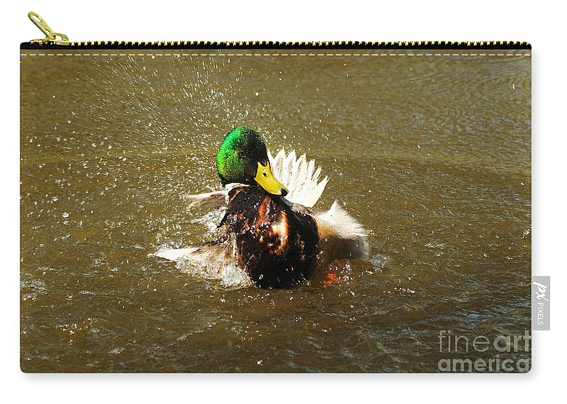 Mallard Carry-all Pouch featuring the photograph Mallard Bath Time by Vivian Christopher