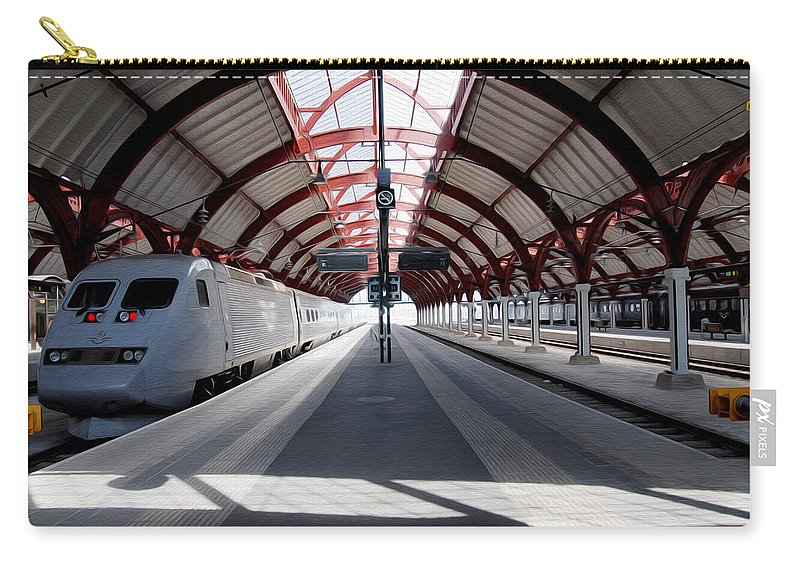 Malmo Carry-all Pouch featuring the photograph Malmo Central Station by Tracy Winter