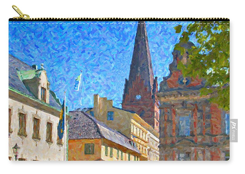 Building Carry-all Pouch featuring the painting Malmo Stortorget Painting by Antony McAulay