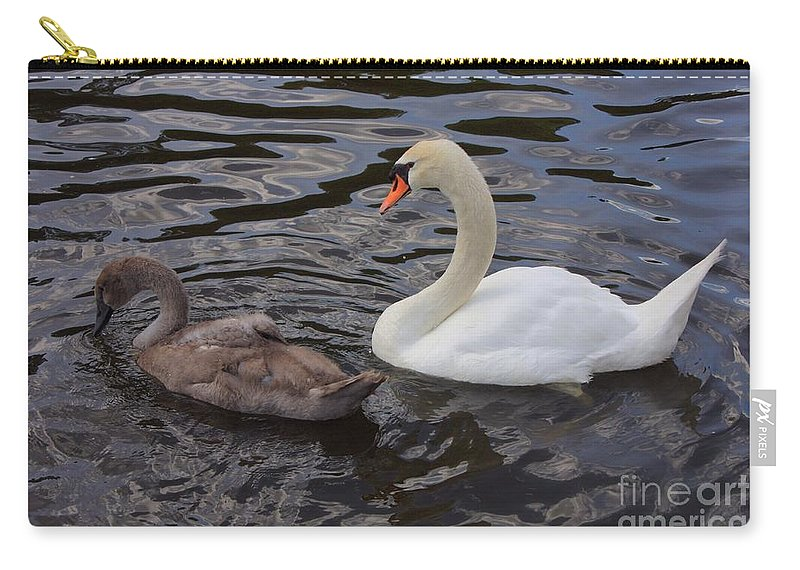 Swan Carry-all Pouch featuring the photograph Mama And Baby Swan by Carol Groenen