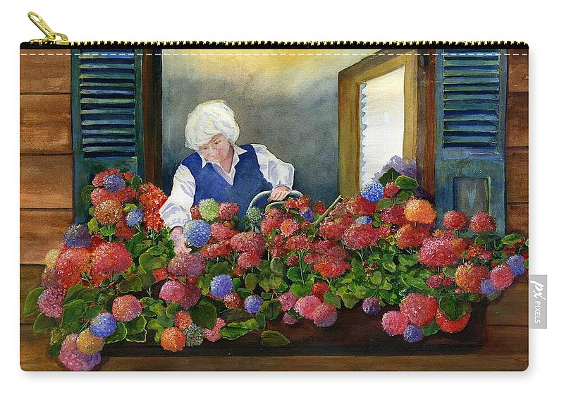 Window Carry-all Pouch featuring the painting Mama's Window Garden by Jane Ricker