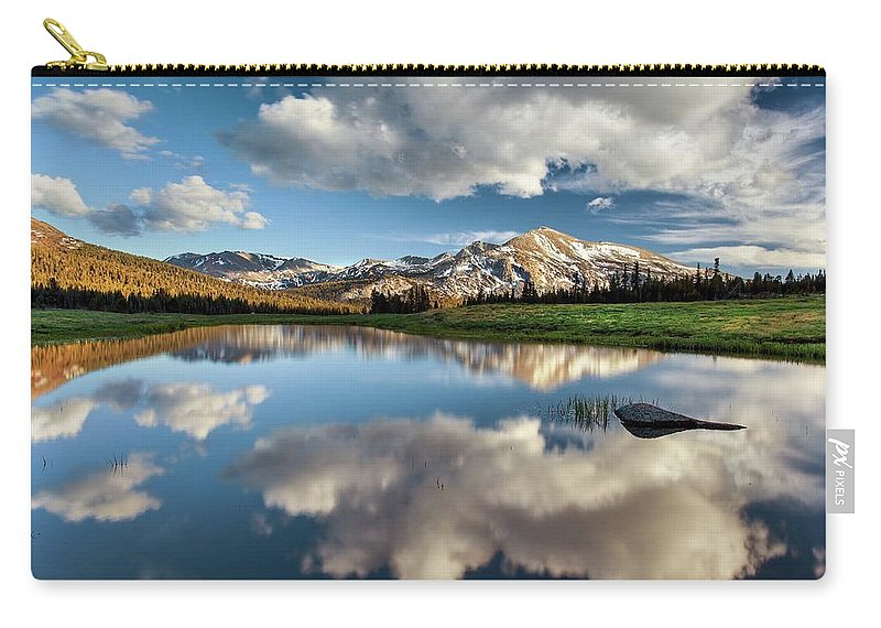 Scenics Carry-all Pouch featuring the photograph Mammoth Peak Reflection by Tom Grubbe