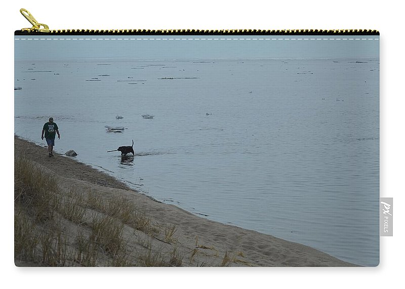 Great Lakes Carry-all Pouch featuring the photograph Man And Dog by Linda Kerkau