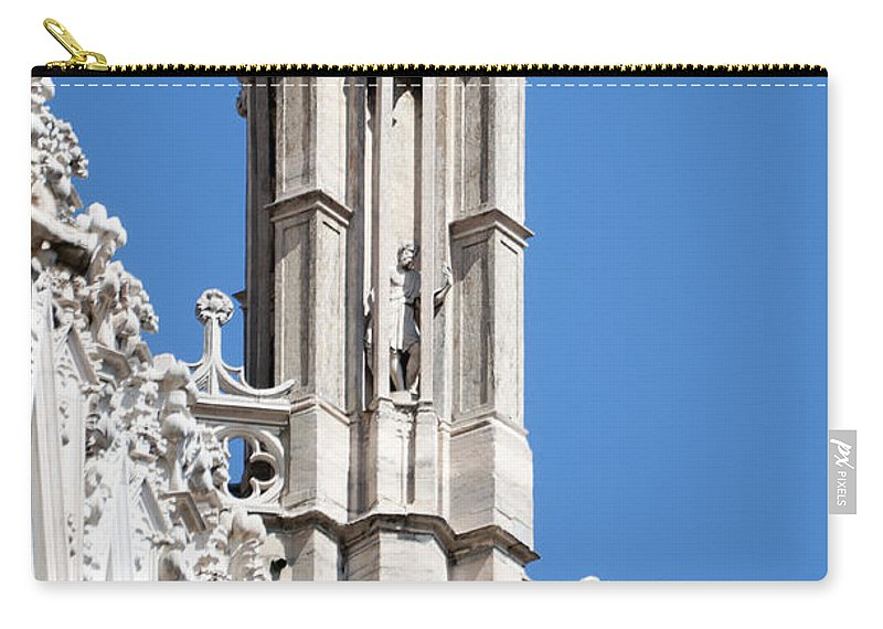 Vertical Carry-all Pouch featuring the photograph Man And Dragon Gargoyles With Tower Duomo Di Milano Italia by Sally Rockefeller