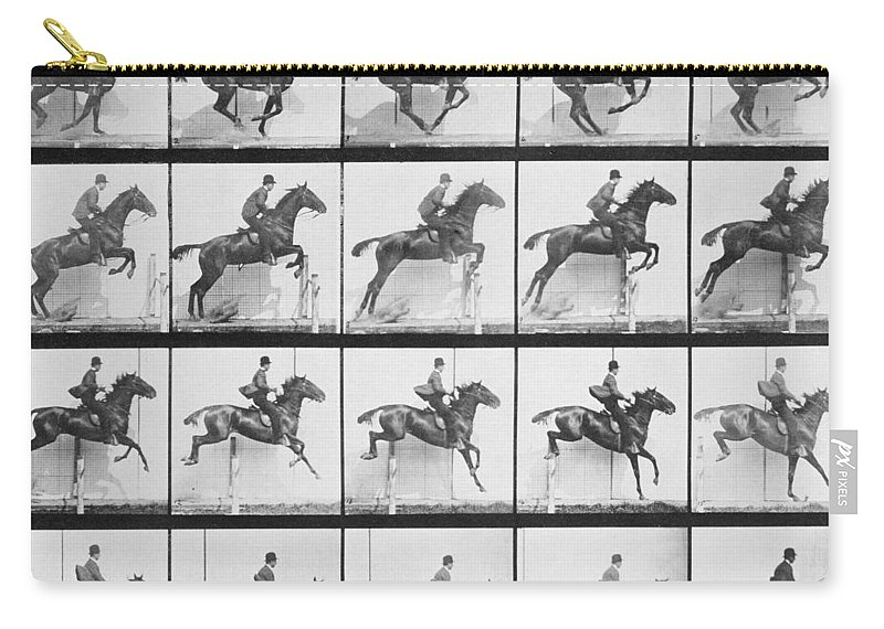 Muybridge Carry-all Pouch featuring the photograph Man And Horse Jumping A Fence by Eadweard Muybridge