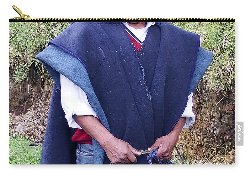 Men Carry-all Pouch featuring the photograph Man At Otavalo Animal Market Ecuador by Kurt Van Wagner