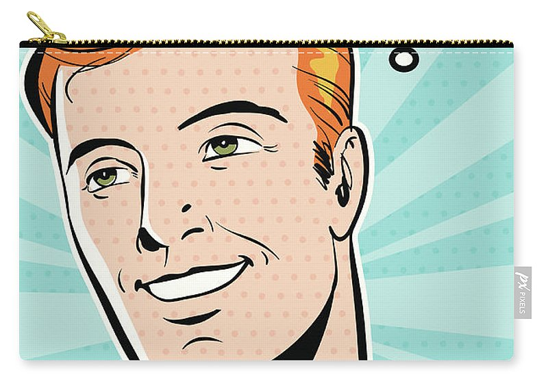 Transfer Print Carry-all Pouch featuring the digital art Man Smiling by Mcmillan Digital Art