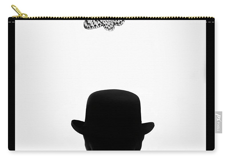 Mature Adult Carry-all Pouch featuring the photograph Man Standing Under Butterfly by Grant Faint