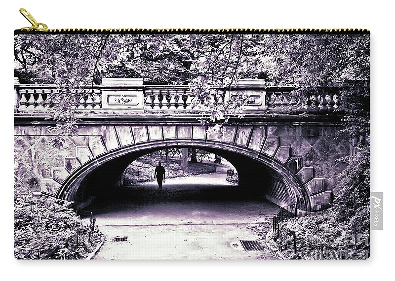 Bridge Carry-all Pouch featuring the photograph Man Under The Bridge by Madeline Ellis