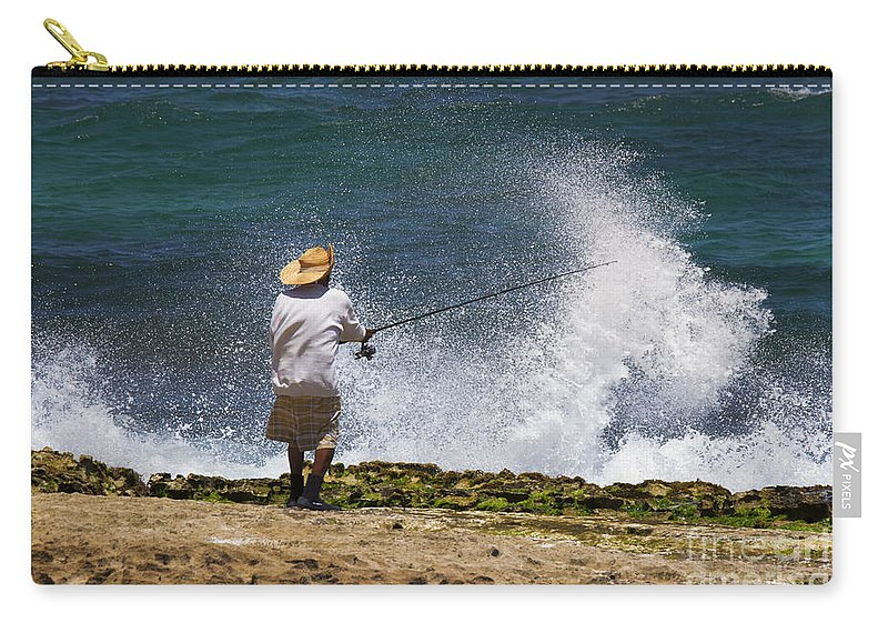 Fisherman Carry-all Pouch featuring the photograph Man Versus The Sea by Mike Dawson