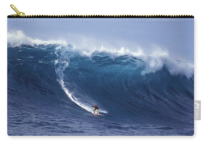 Surf Big Wave Carry-all Pouch featuring the photograph Man Vs Mountain by Sean Davey