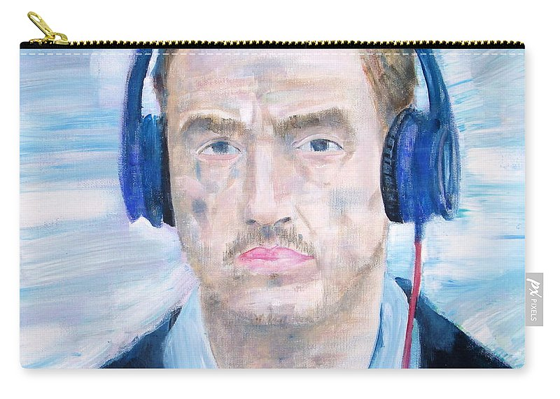 Man Carry-all Pouch featuring the painting Man With Headphones by Fabrizio Cassetta