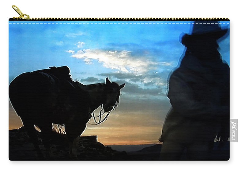 Colette Carry-all Pouch featuring the photograph Man With His Horse by Colette V Hera Guggenheim