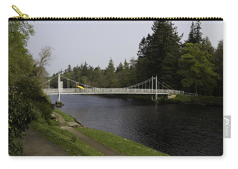 Bridge Carry-all Pouch featuring the photograph Man With Kayak Crossing Over Small Bridge From Ness Islands by Ashish Agarwal