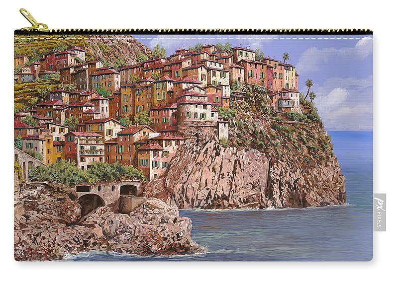 Seascape Carry-all Pouch featuring the painting Manarola  by Guido Borelli