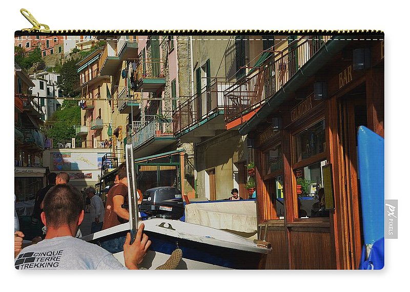 Manarola Carry-all Pouch featuring the photograph Manarola Street - Cinque Terre by Dany Lison