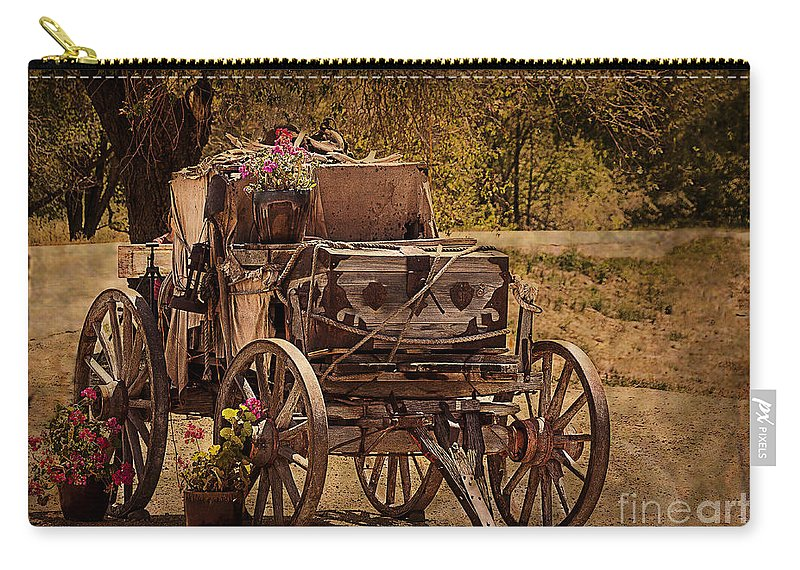 Wagon Carry-all Pouch featuring the photograph Mancos Flower Wagon by Janice Pariza