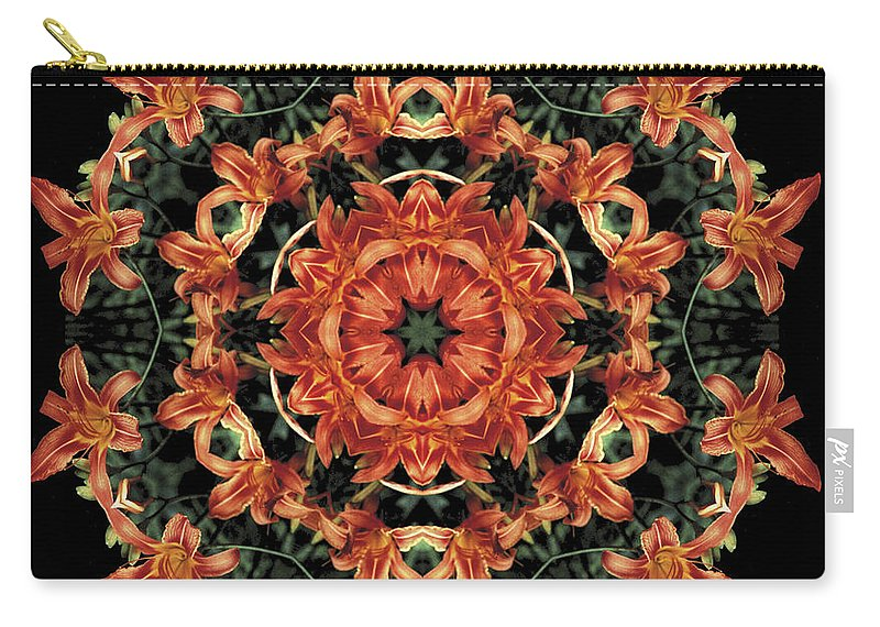 Mandala Carry-all Pouch featuring the photograph Mandala Daylily by Nancy Griswold