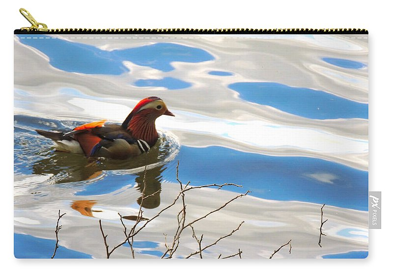 Wildlife Carry-all Pouch featuring the photograph Mandarin Duck by Marilyn Holkham
