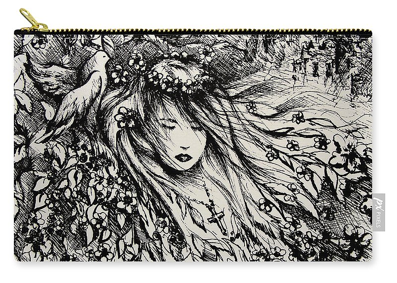Spiritual Carry-all Pouch featuring the drawing Mandee's Dream by Rachel Christine Nowicki