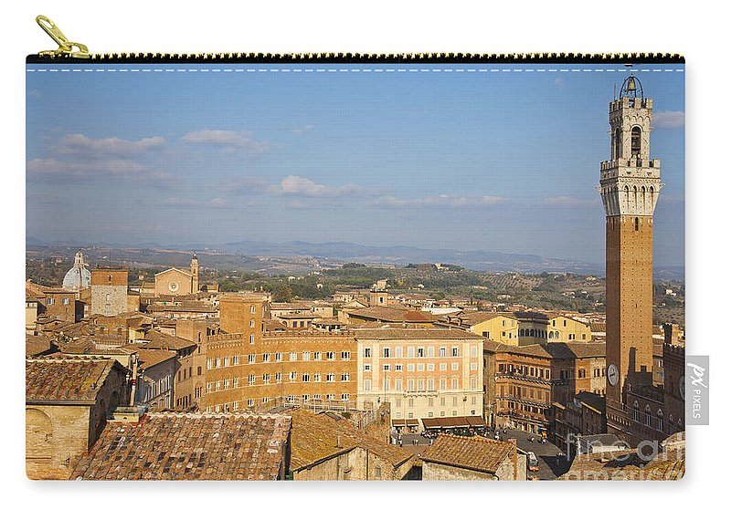 Siena Carry-all Pouch featuring the photograph Mangia Tower Piazzo Del Campo Siena by Liz Leyden