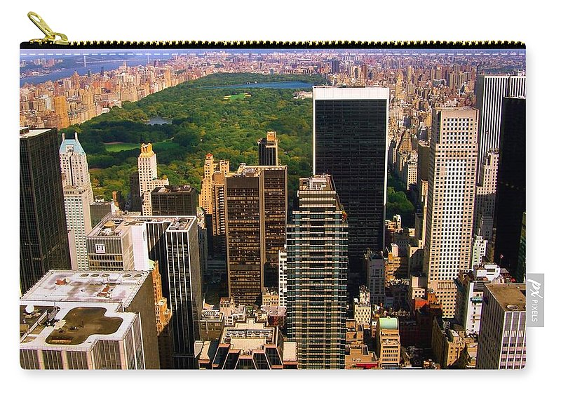 Manhattan Prints Carry-all Pouch featuring the photograph Manhattan And Central Park by Monique's Fine Art