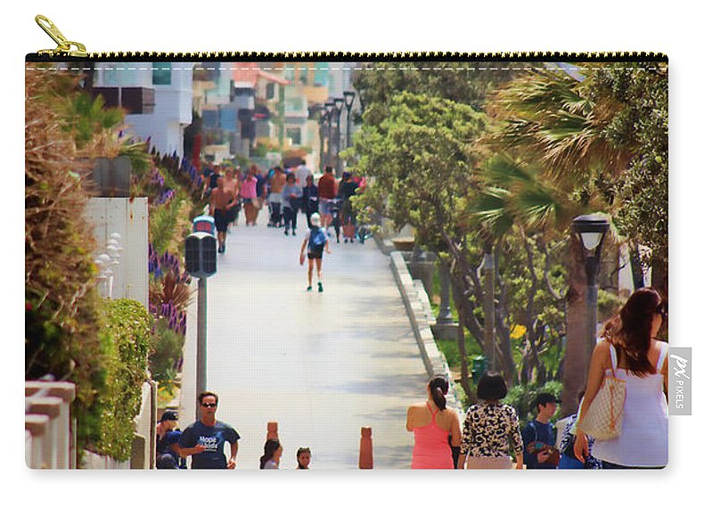 Manhattan Beach Carry-all Pouch featuring the photograph Manhattan Beach Boardwalk by RJ Aguilar