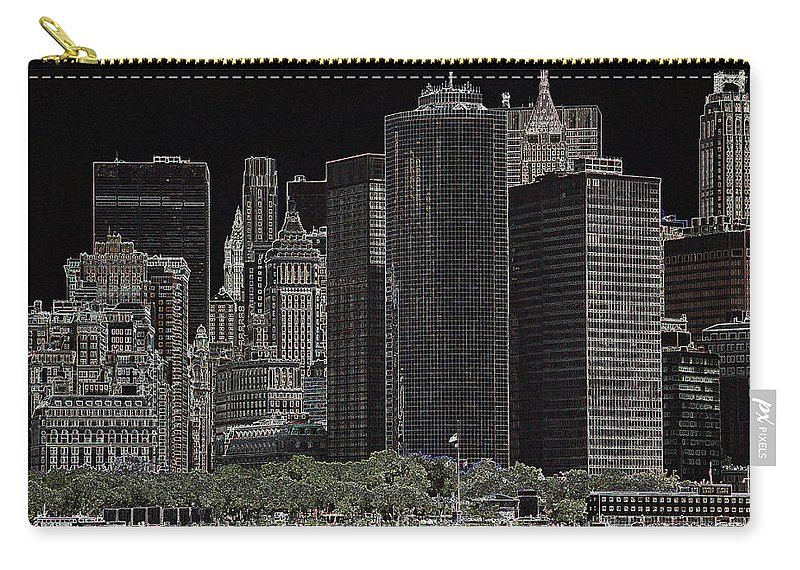 New York Carry-all Pouch featuring the photograph Manhattan Skyline Abstract by Christiane Schulze Art And Photography