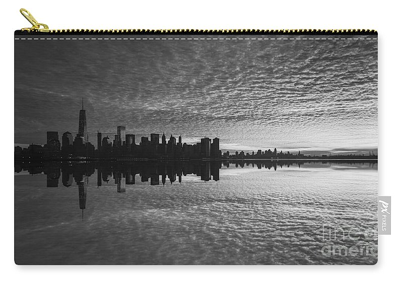 Lower Manhattan Carry-all Pouch featuring the photograph Manhattan Sunrise Version 2 Bw by Michael Ver Sprill