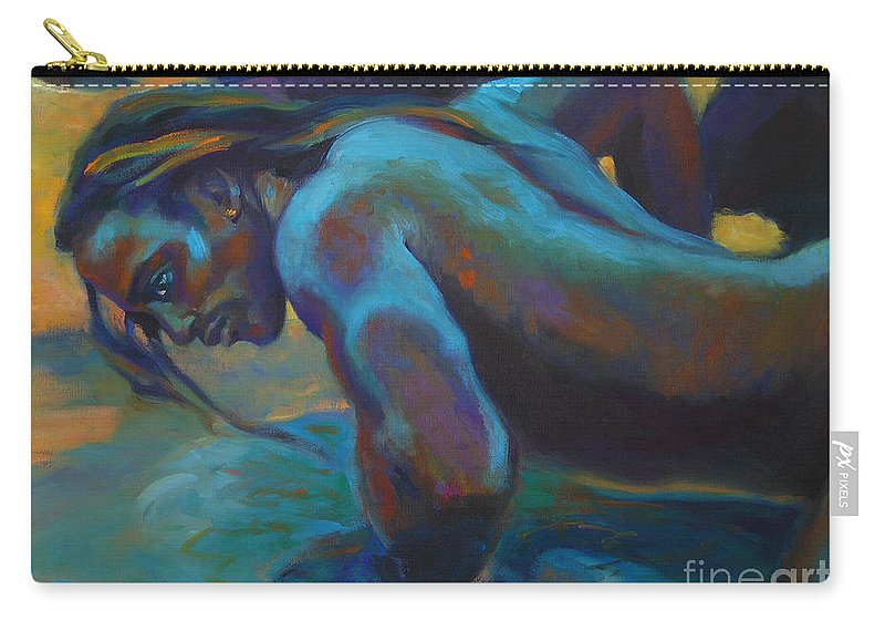 Mermaid Carry-all Pouch featuring the painting Manly Merman by Isa Maria