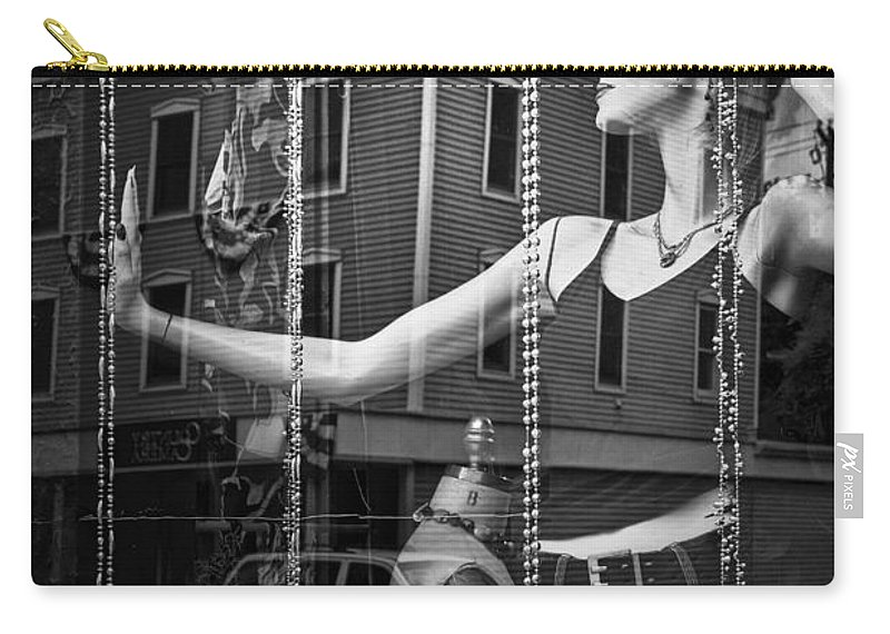 Art Carry-all Pouch featuring the photograph Mannequin In Storefront Shop Window In Black And White by Randall Nyhof