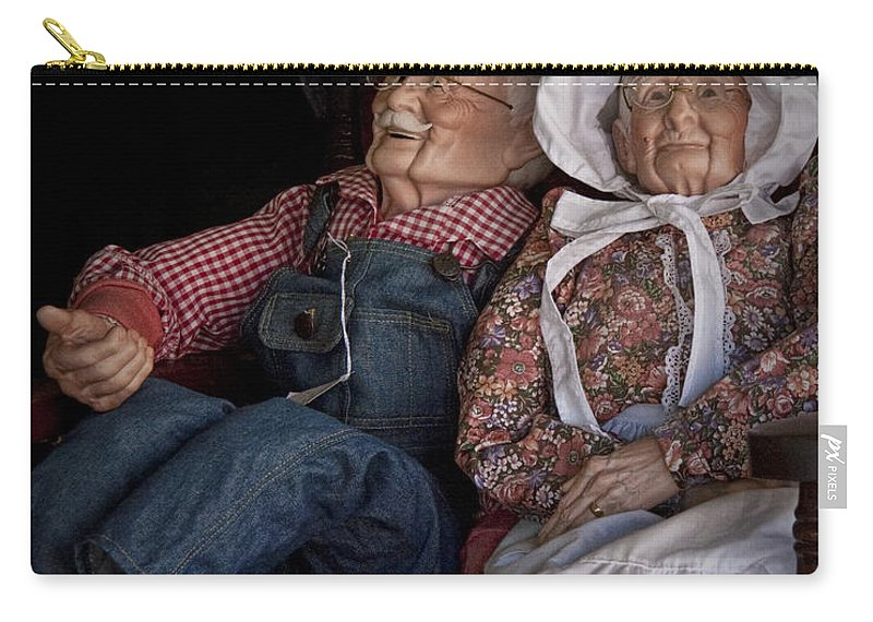 Art Carry-all Pouch featuring the photograph Mannequin Old Couple In Shop Window Display Color Photo by Randall Nyhof