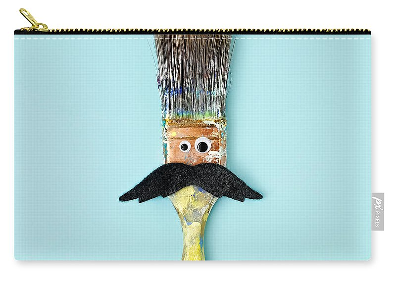 Work Tool Carry-all Pouch featuring the photograph Mans Face Crafted Onto Paintbrush by Juj Winn