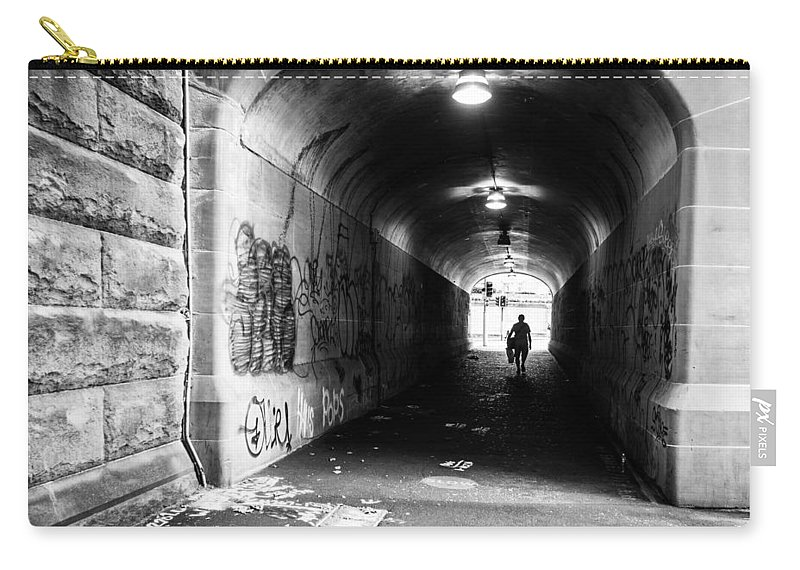 Tunnel Carry-all Pouch featuring the photograph Man's Silhouette In Urban Tunnel Black And White by Kaleidoscopik Photography