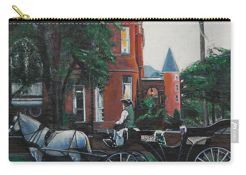 Carry-all Pouch featuring the painting Mansion On Forsythe Savannah Georgia by Jude Darrien