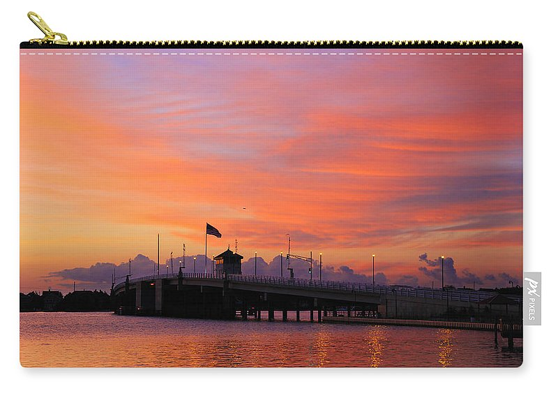 Sunset  Carry-all Pouch featuring the photograph Mantoloking Bridge At Dawn by Roger Becker