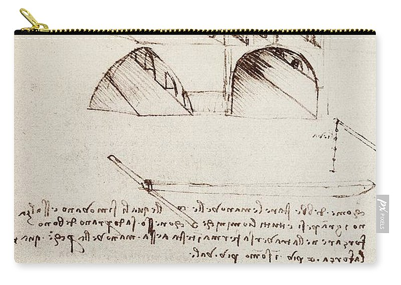 Leonardo Carry-all Pouch featuring the drawing Manuscript B F 36 R Architectural Studies Development And Sections Of Buildings In City With Raise by Leonardo Da Vinci
