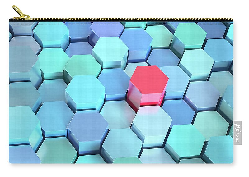 Grid Carry-all Pouch featuring the photograph Many Blue Hexagons, Various Heights by Dimitri Otis
