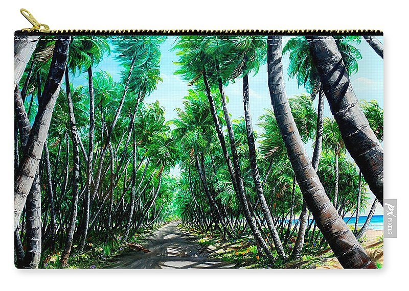 Coconut Trees Carry-all Pouch featuring the painting Manzanilla Coconut Estate by Karin Dawn Kelshall- Best