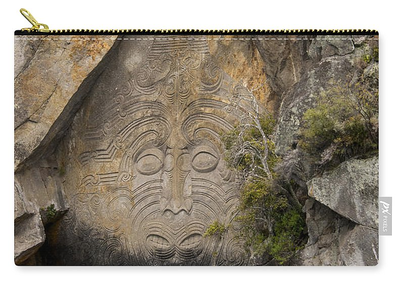 Lake Taupo New Zealand Maori Rock Carving Rocks Water Lakes Carvings Art Artwork Matahi Whakataka-brightwell Landscape Landscapes Waterscape Waterscapes Carry-all Pouch featuring the photograph Maori Rock Carving by Bob Phillips