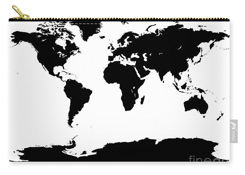 World Carry-all Pouch featuring the digital art Map In Black And White by Jackie Farnsworth