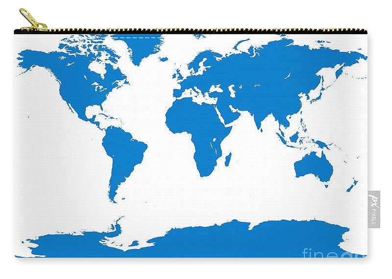 World Carry-all Pouch featuring the digital art Map In Blue by Jackie Farnsworth