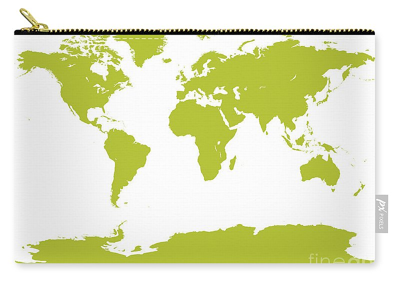 World Carry-all Pouch featuring the digital art Map In Chartreuse Green by Jackie Farnsworth