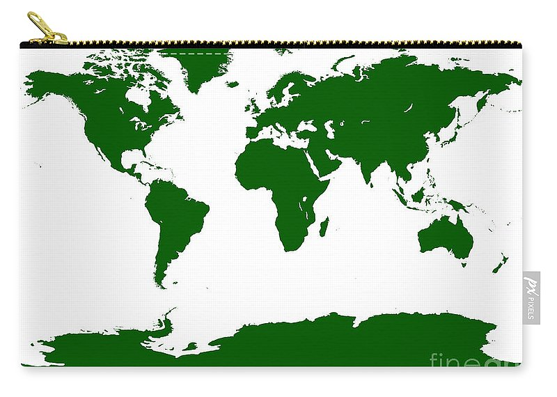 World Carry-all Pouch featuring the digital art Map In Forest Green by Jackie Farnsworth