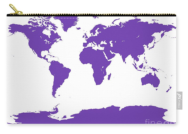 World Carry-all Pouch featuring the digital art Map In Purple by Jackie Farnsworth