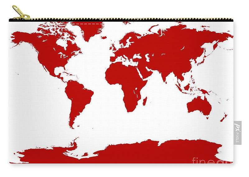 World Carry-all Pouch featuring the digital art Map In Red by Jackie Farnsworth