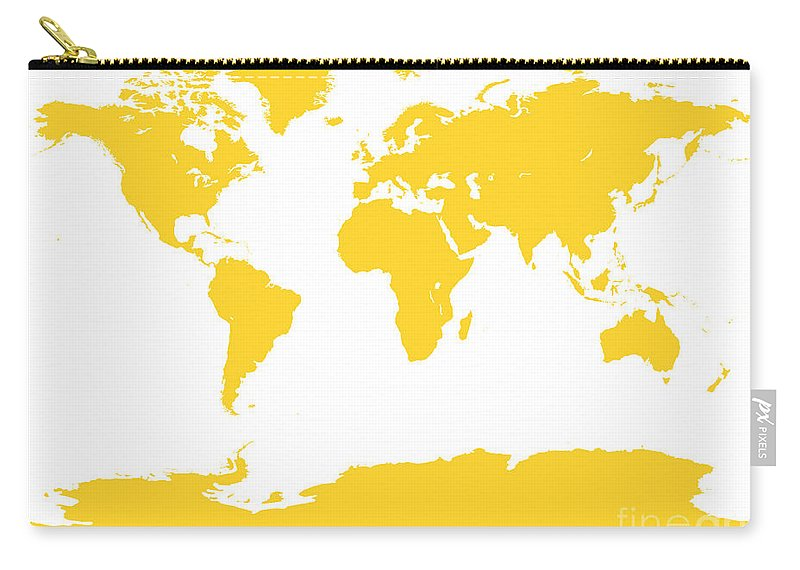 World Carry-all Pouch featuring the digital art Map In Yellow by Jackie Farnsworth